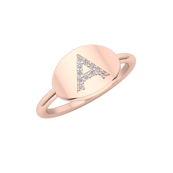 Gold Signet Diamond Initial Ring