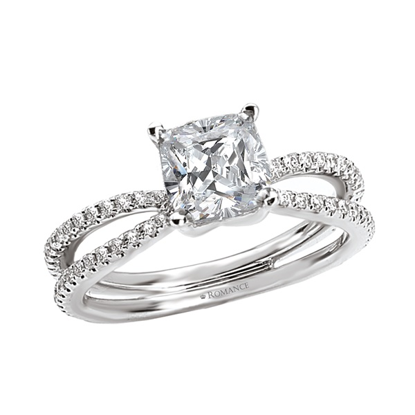 18K Split Shank Cushion Cut Diamond Engagement Ring .26ctw Romance Collection