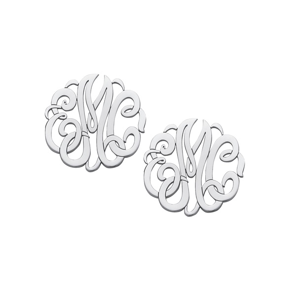 Sterling Silver Script Monogram Earrings