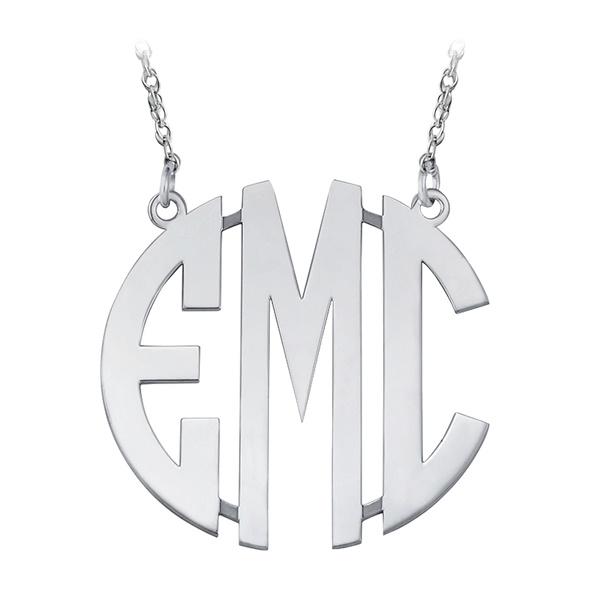 Large Sterling Silver Block Letter Monogram Necklace