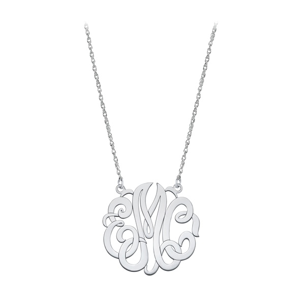 Small Sterling Silver Script Monogram Necklace