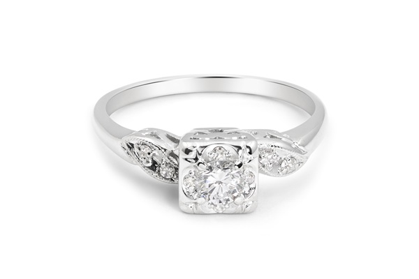 14K White Gold & Diamond Engagement Ring 1950s -  Frances
