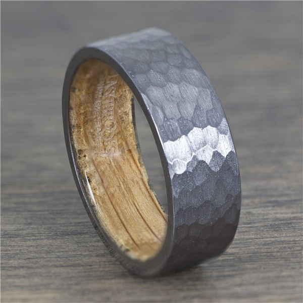 8mm Tantalum Ring with Hammered Finish and Wood