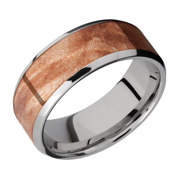 Beveled Titanium and Mapleburl Hardwood Band by Lashbrook Designs