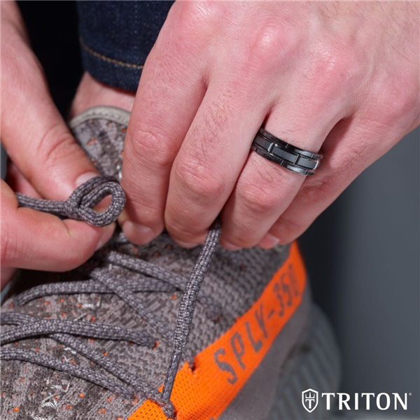 TRITON Brick Design Black Tungsten Ring - CUTLASS