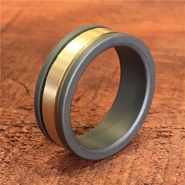 Triton RAW Tungsten and 14K Yellow Gold Ring