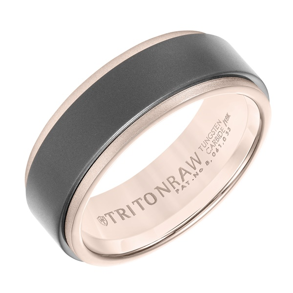 Triton RAW Tungsten and 18K Rose Gold Ring
