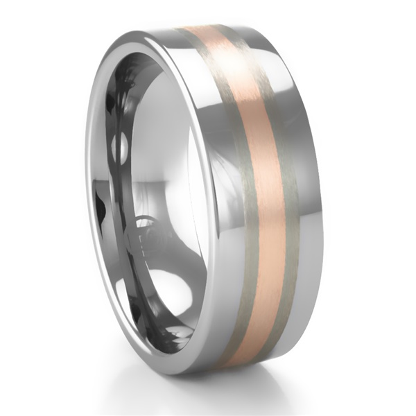 Tungsten Carbide & 14k Rose Gold Men's Ring