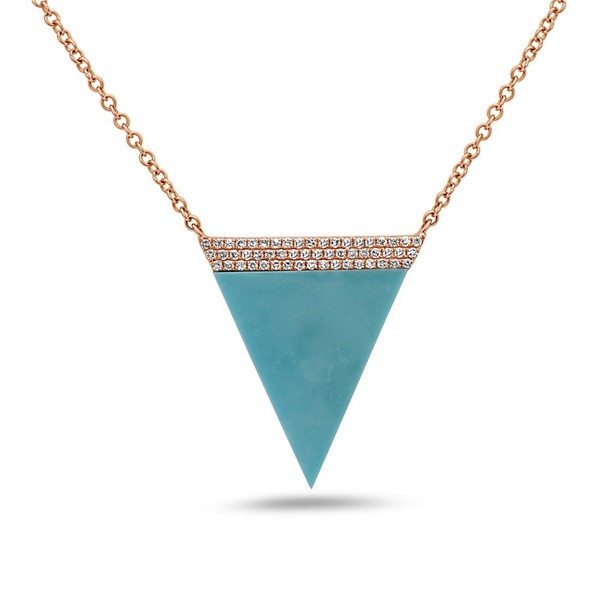 14K Rose Gold, Turquoise and Diamond Triangle Necklace by Bassali
