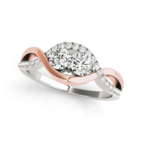 Skylar - Two Stone Diamond Ring with Rose Gold