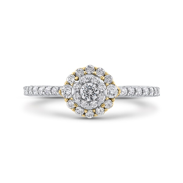 Luminous Two-Tone Diamond Cluster Engagement Ring