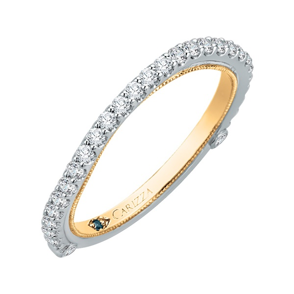 14kt White and Yellow Gold And Diamond Wedding Band by Carizza
