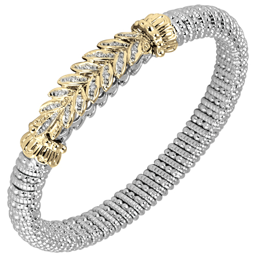 14K Yellow Gold & Sterling Silver Alwand Vahan Bracelet - Wheat Design