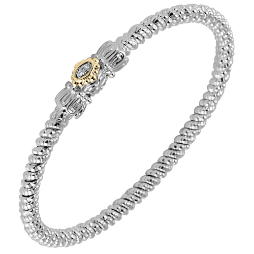 Vahan Sterling Silver, 14K Gold & Diamond 3mm Bracelet