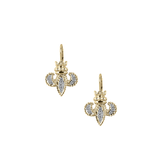 Vahan Fleur De Lis  Earrings - 14K Gold & Diamond