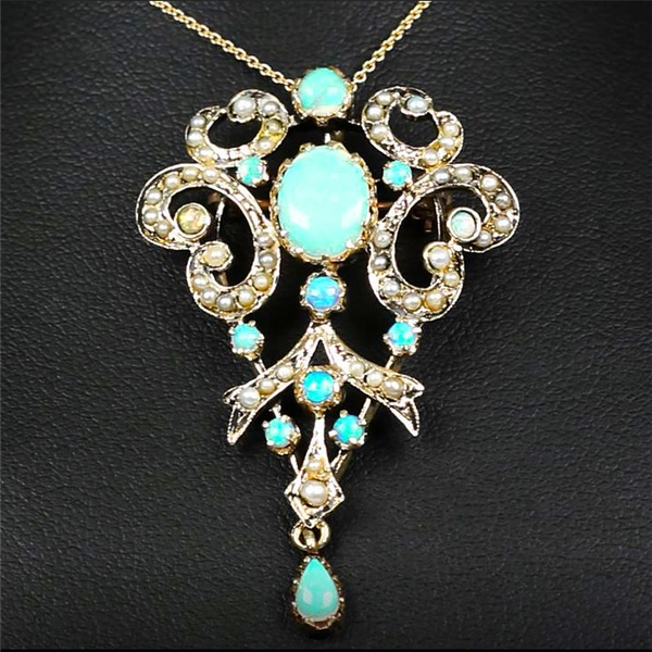 Aurora - 14k Yellow Gold Victorian Style Necklace/ Pin