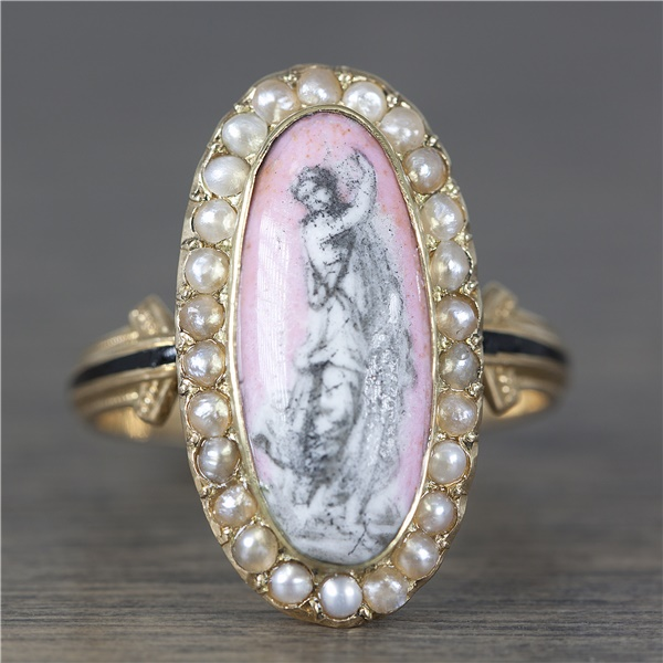 Victorian Hand Etched/Painted Cameo Vintage Ring