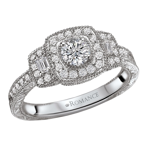14K White Gold Cushion Shaped Vintage Style Diamond Halo Engagement Ring by Romance