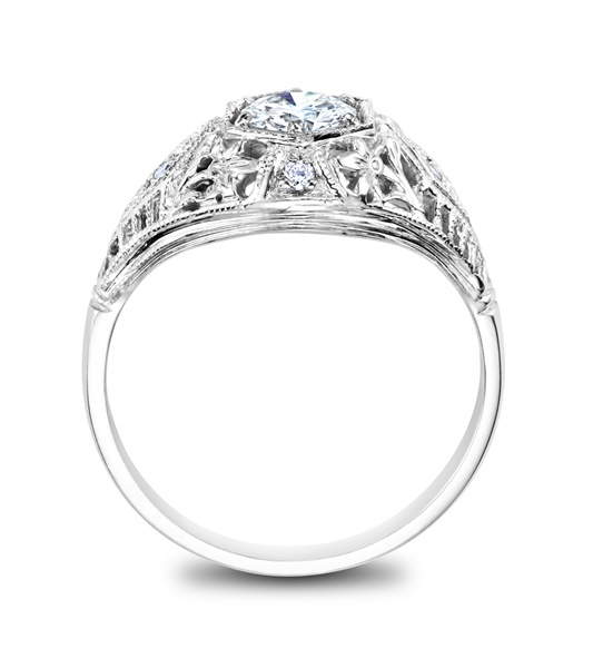 JOSEPHINE - 14k White Gold and Diamond Vintage Engagement Ring - 1/2 ct