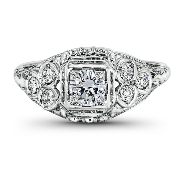 Adele - Vintage 14K White Gold & Diamond Ring, .37ct, .62ctw