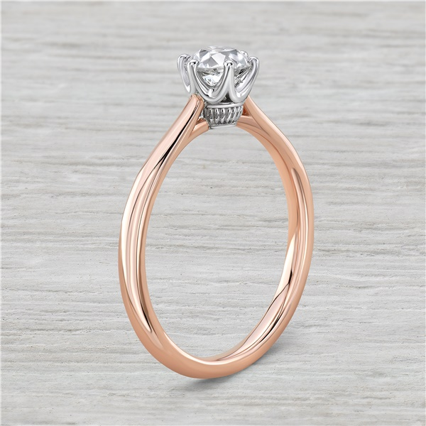 Vintage Inspired 14k Rose Gold and 5/8ct Old European Cut Diamond Engagement Ring