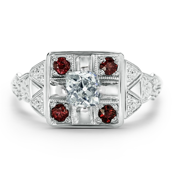 Ladies Vintage Palladium, Ruby & Diamond Ring