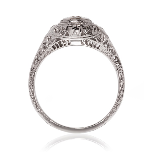 Vintage White Gold Diamond Engagement Ring With Filigree