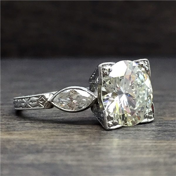 Penelope - Vintage Platinum and Diamond Engagement Ring - 2.73ctw