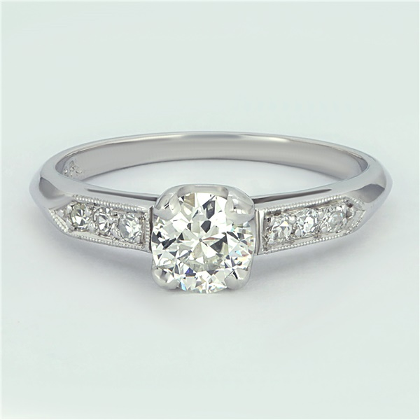 Vintage Platinum and Old European Cut Diamond Engagement Ring
