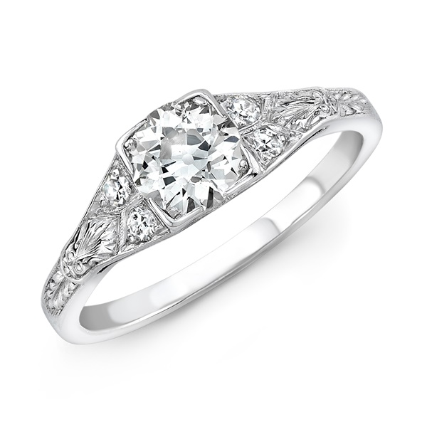 Sophia - Vintage Platinum & Diamond Engagement Ring
