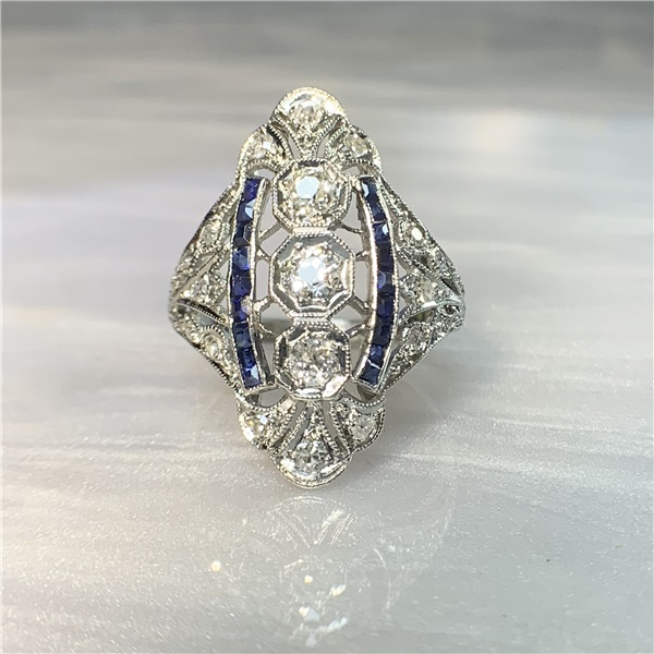 Ladies Platinum, Diamond and Sapphire Navette Style Ring