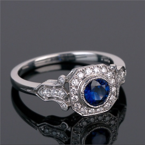 Vintage Inspired Platinum, Ceylon Sapphire and Diamond Ring - Sabrina