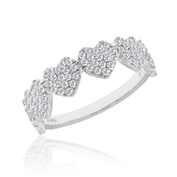 14K White Gold and Diamond Heart Band by Meira T