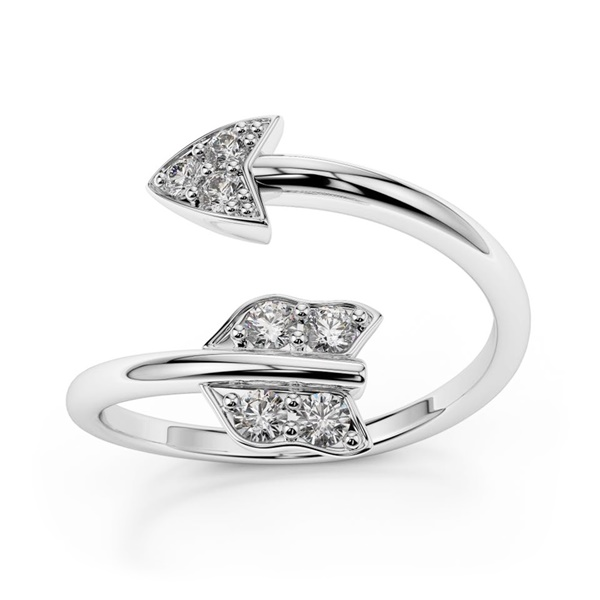 14K White Gold and Diamond Arrow Ring