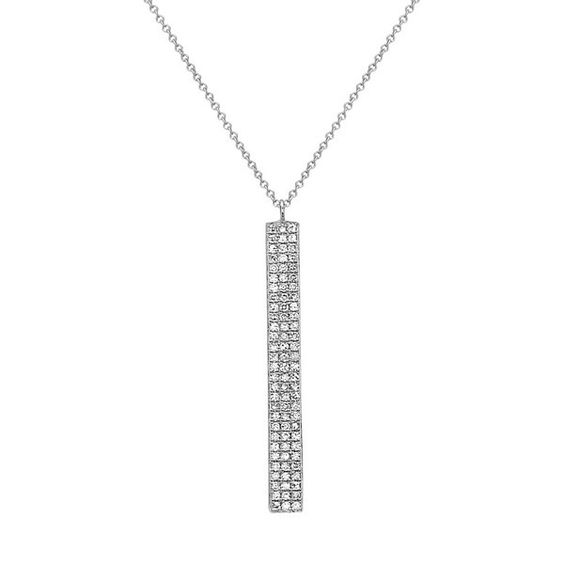 14K White Gold, Diamond Pave Bar Necklace