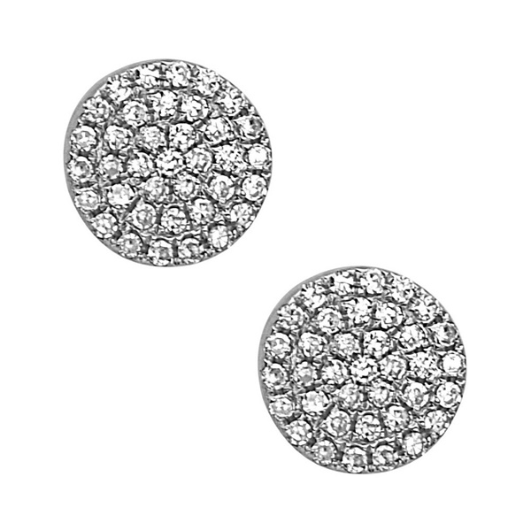 14K White Gold Diamond Disc Earrings by Bassali