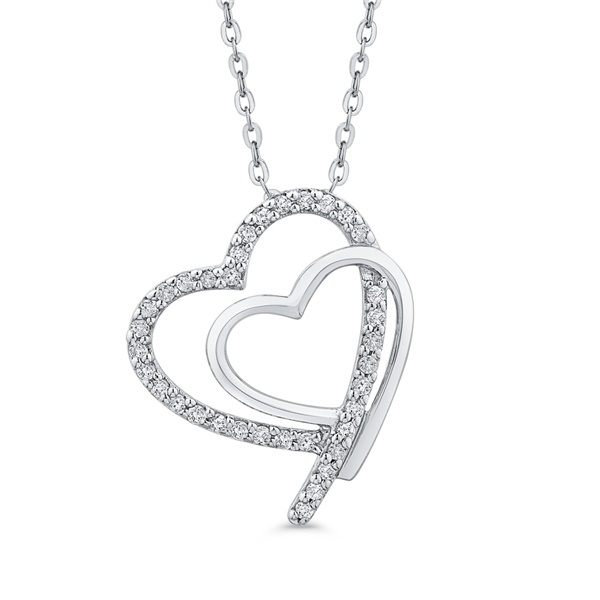 10kt White Gold and Diamond Double Heart Necklace
