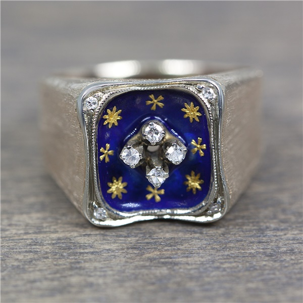Vintage Non-Rhodium Plated White Gold, Blue Enamel & Diamond Ring