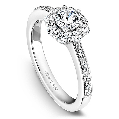 Noam Carver 14K White Gold Diamond Halo Flower Engagement Ring