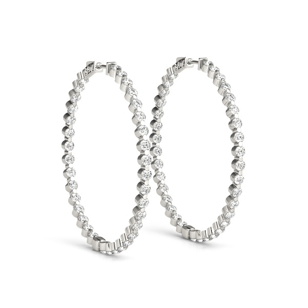 14K White Gold & Diamond Inside-Out Hoop Earrings
