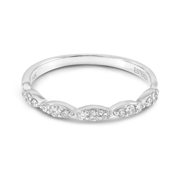 14k White Gold &Diamond Scalloped Wedding Band