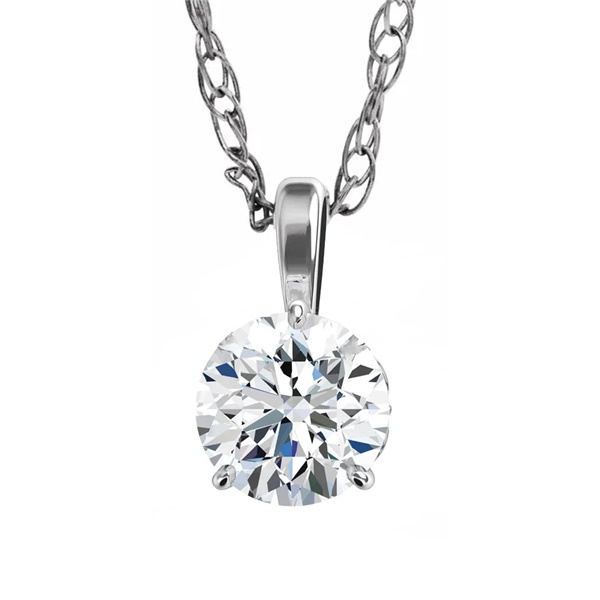 14k White Gold Diamond .16ct Solitaire Necklace