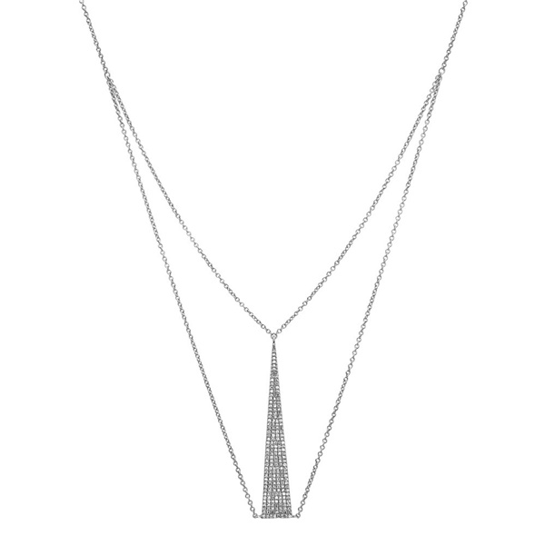 14K White Gold Diamond Up Necklace