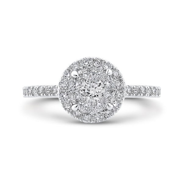 Luminous Round Halo Cluster Engagement Ring