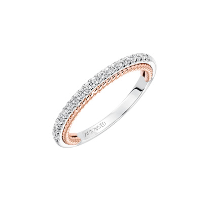 14kt  white and Rose Gold Diamond Wedding Band by ArtCarved