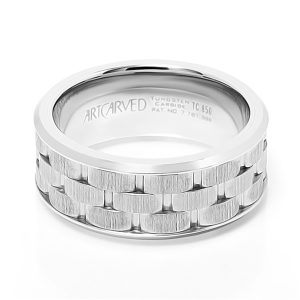 Mortar White Tungsten Carbide Wedding Band