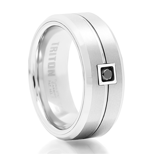 Gilroy White Tungsten Ring with Black Diamond