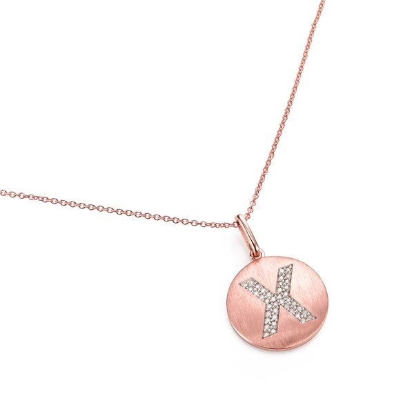 14K Rose Gold and Diamond X Initial Pendant