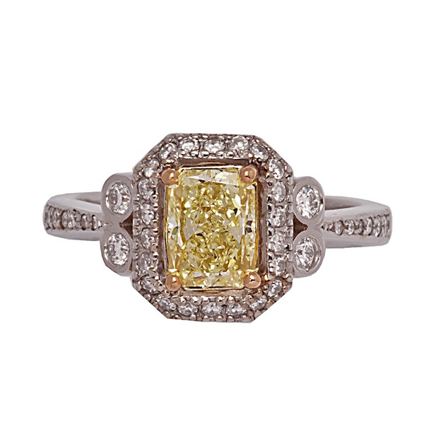 Radiant Cut Natural Yellow Diamond Ladies Ring