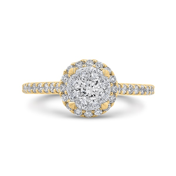 Luminous 14k Yellow Gold Halo Cluster Engagement Ring